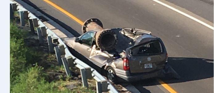 Orlando van driver survives freak accident involving overturned