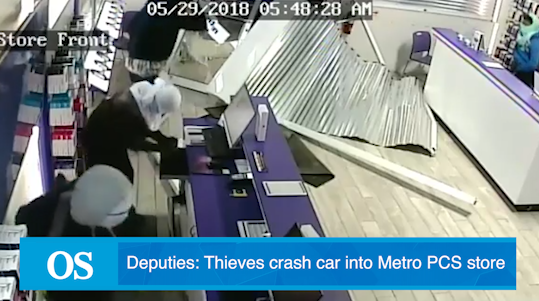 VIDEO: Thieves crash car into Metro PCS store in smash-and