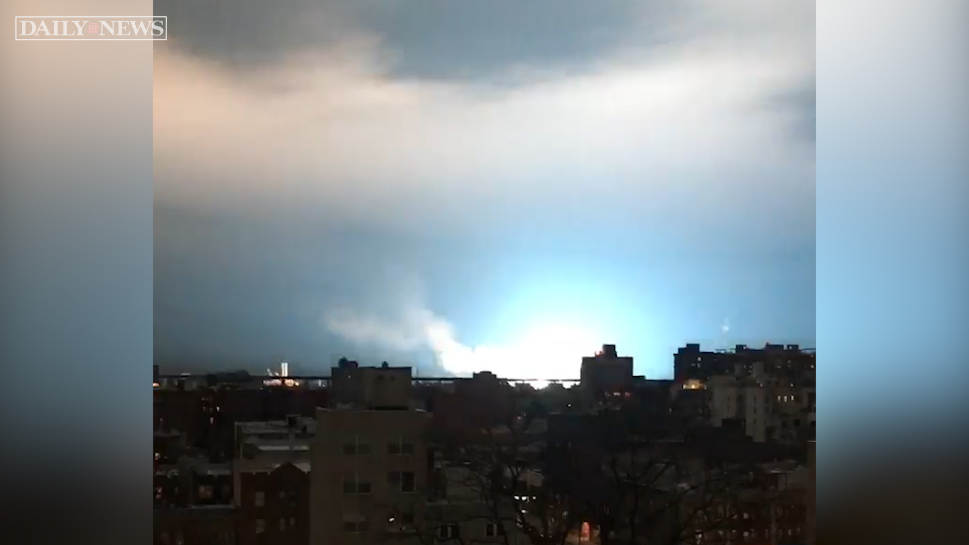 NYC's night sky turned bright blue by Con Ed transformer